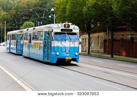 Gothenburg, Sweden - September 2, 2019: Blue Tram Class M29+m28 At The Aschebergsgatan Street In Ser