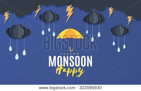 Rain Umbrella And Clouds In The Paper Cut Style. Vector Storm Weather Concept With Thunderstorm Fall