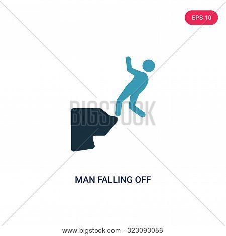 man falling off a precipice icon in two color design style.