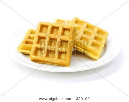 Waffles, Belgian, Over White