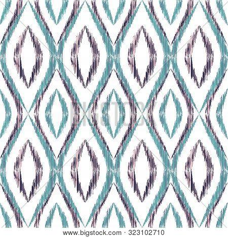 Ikat Ogee Seamless Vector Pattern Design. Ethnic Fabric Print Geometric Ikat Pattern. Wavy Ogee Seam