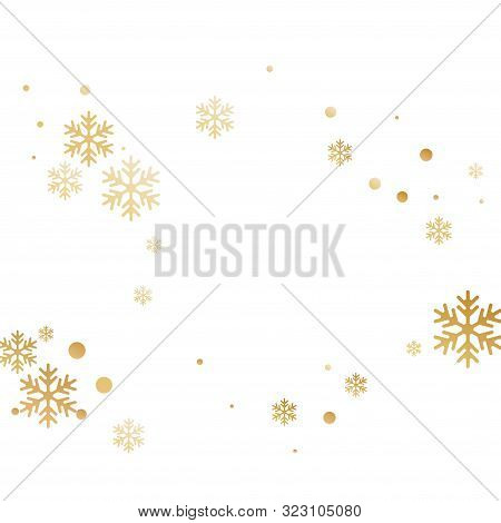 Crystal Snowflake And Circle Shapes Vector Design. Cool Winter Snow Confetti Scatter Card Background