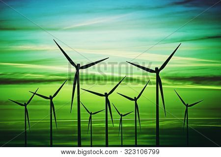 Clean energy produced by the wind.Conceptual image