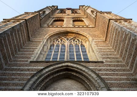 View On Tower In Small Dutch Town Goedereede On Sunset, Zeeland, Netherlands