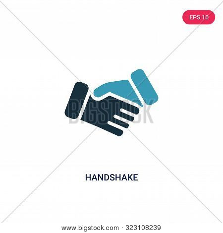 handshake icon in two color design style.