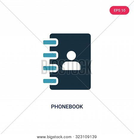 phonebook icon in two color design style.