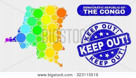 Spectrum Dotted Democratic Republic Of The Congo Map And Watermarks. Blue Round Keep Out Exclamation