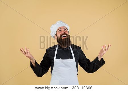 Chief Cook And Professional Culinary. Chef Ready To Cooking New Dish. Bearded Man Chef In Uniform. B