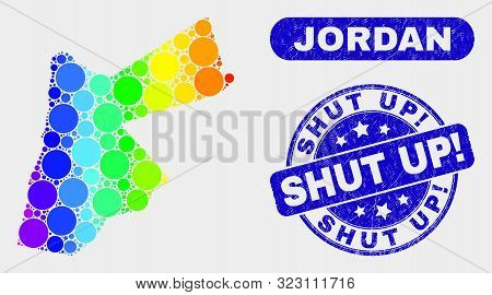 Spectral Dotted Jordan Map And Seal Stamps. Blue Round Shut Up Exclamation Distress Seal Stamp. Grad