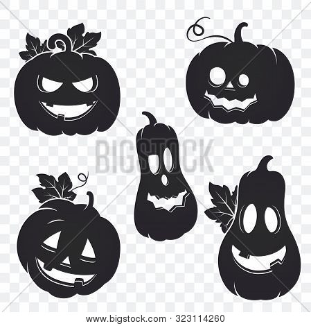 Collection Of Halloween Pumpkin Silhouette Isolated On Transparent Background. Halloween Gourd. Vect