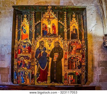 Palma Mallorca Spain June 2015 Beautiful Gothic Style Interior In Cathedral Of Santa Maria Of Palma