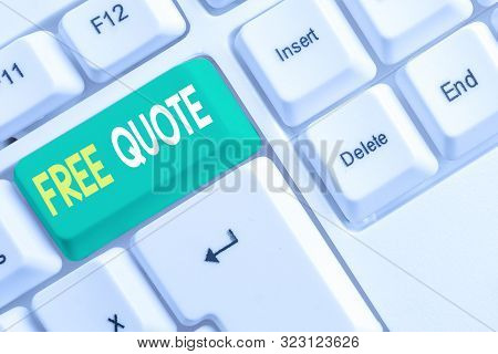 poster of Word writing text Free Quote. Business concept for A brief phrase that is usualy has impotant message to convey White pc keyboard with empty note paper above white background key copy space.