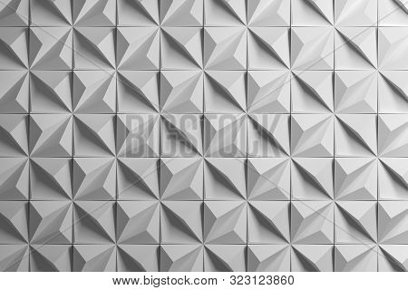 White 3d Pattern With Distorted Squares Made Of Pyramids With Uplifted Edges. Geometric Clean Polyhe