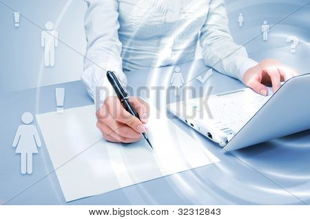 Laptop and business person against technology background