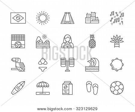 Set Of Brazilian Culture Line Icons. City Favelas, Carnival, Surfboard And More.