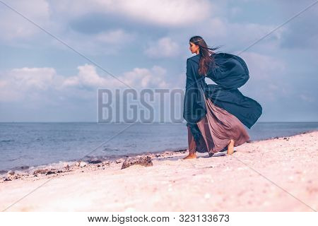 Beautiful Young Boho Style Woman Outdoors. Spiritual Concept.