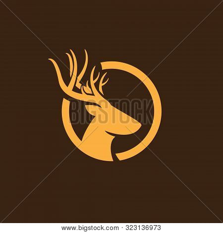 Deer Head Logo, Creative Deer Head Silhouette Monogram Logo Concept, Deer Head On Circle Logo, Deer