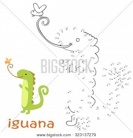 Coloring Book And Dot To Dot Game For Children. Numbers Game. Iguana Vector Illustration
