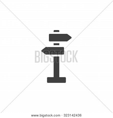 Road Signpost Vector Icon. Guidepost Filled Flat Sign For Mobile Concept And Web Design. Street Sign