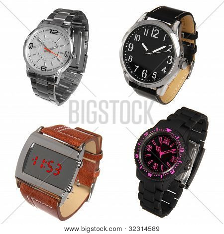 Set Of Different Wrist Watches Isolated On White