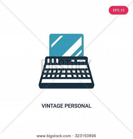 Vintage Personal Computer Icon In Two Color Design Style. Vintage Personal Computer Vector Icon Mode