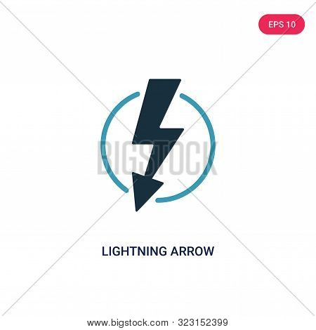 lightning arrow icon in two color design style.