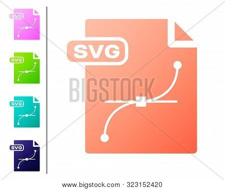 Coral Svg File Document. Download Svg Button Icon Isolated On White Background. Svg File Symbol. Set
