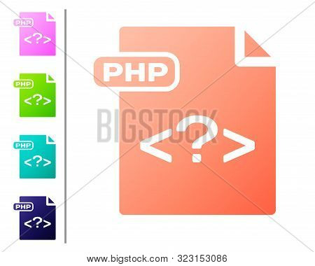Coral Php File Document. Download Php Button Icon Isolated On White Background. Php File Symbol. Set