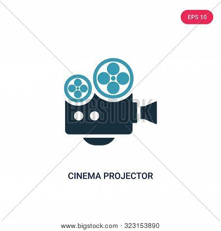 cinema projector icon in two color design style.
