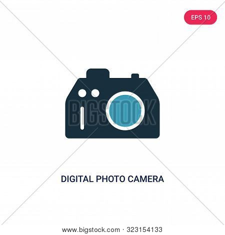 Digital Photo Camera Icon In Two Color Design Style. Digital Photo Camera Vector Icon Modern And Tre