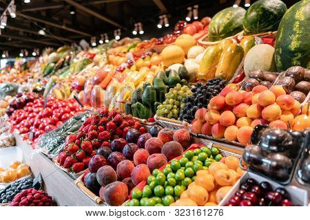Big Choice Of Fresh Fruit And Vegetable Market. Various Colorful Fresh Fruits And Vegetables. Fresh