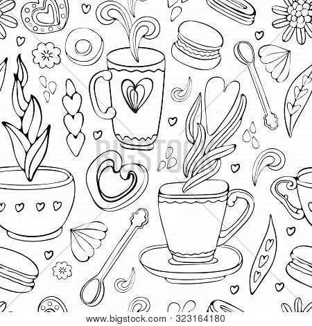 Seamless Pattern Of Doodle Tea And Coffee Hand Drawn In Outline. Tea Time Elements. Cup, Mug, Spoon,