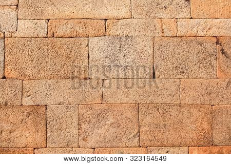 Red Laterite Stone Wall Texture Background Old