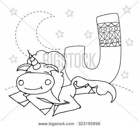 Letter J And Funny Cartoon Unicorn. Animals Alphabet A-z. Coloring Page. Printable Worksheet. Handwr