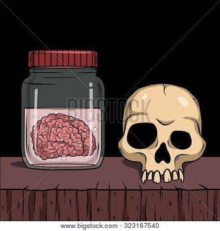 Vector Horror Artwork With Creepy Brain In Glass Jar And Skull  For Scary Design, Print, Poster, Cov