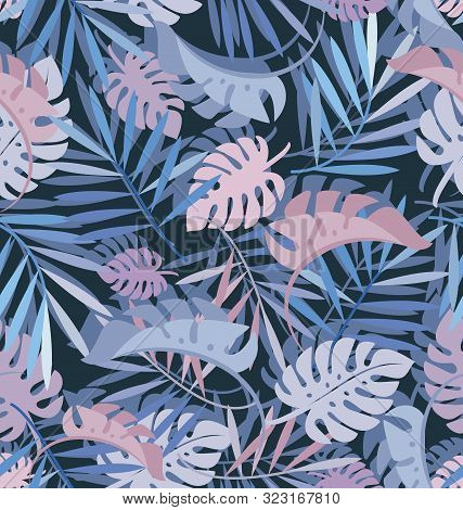 Tropical Leaves, Jungle Leaf. Seamless Vector Vegetable Pattern With Leaves Palm, Monstera. Dark Bac