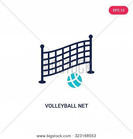 Volleyball Net Icon In Two Color Design Style. Volleyball Net Vector Icon Modern And Trendy Flat Sym