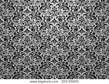Wallpaper In The Style Of Baroque. Seamless Vector Background. Black And Grey Floral Ornament. Graph