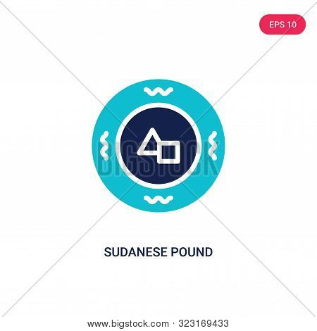 sudanese pound icon in two color design style.