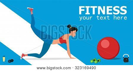 Young Female Athlete Doing Fitness Workout. Fitness And Workout Vector Illustration. Beautiful Woman