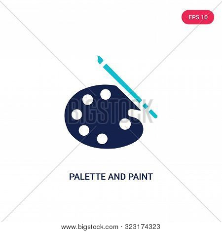 palette and paint brush icon in two color design style.