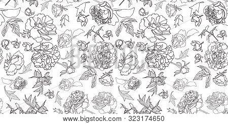 Festive Royal Peony Blossom Botanical Pattern, Black And White Contrast, Modern Design. All Over Pri