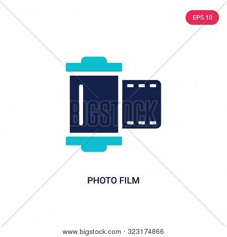 Photo Film Icon In Two Color Design Style. Photo Film Vector Icon Modern And Trendy Flat Symbol For