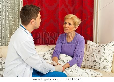 Doctor Talking With Patient Home