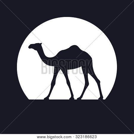 Camel Graphic Icon. Camel Black Sign On Background White Circle. Isolated Symbol. Logo Design. Vecto