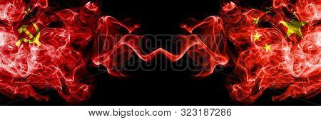 Communist Vs China, Chinese Abstract Smoky Mystic Flags Placed Side By Side. Thick Colored Silky Smo