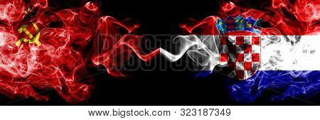 Communist Vs Croatia, Croatian Abstract Smoky Mystic Flags Placed Side By Side. Thick Colored Silky