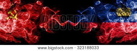 Communist Vs Liechtenstein, Liechtensteins Abstract Smoky Mystic Flags Placed Side By Side. Thick Co