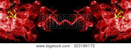 Communist Vs Ussr, Communist Abstract Smoky Mystic Flags Placed Side By Side. Thick Colored Silky Sm