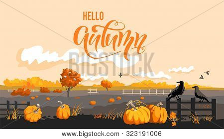 Fall Countryside Landscape. Rural Illustration With Pumpkins, Crows And Barn. Hallo Autumn Design.